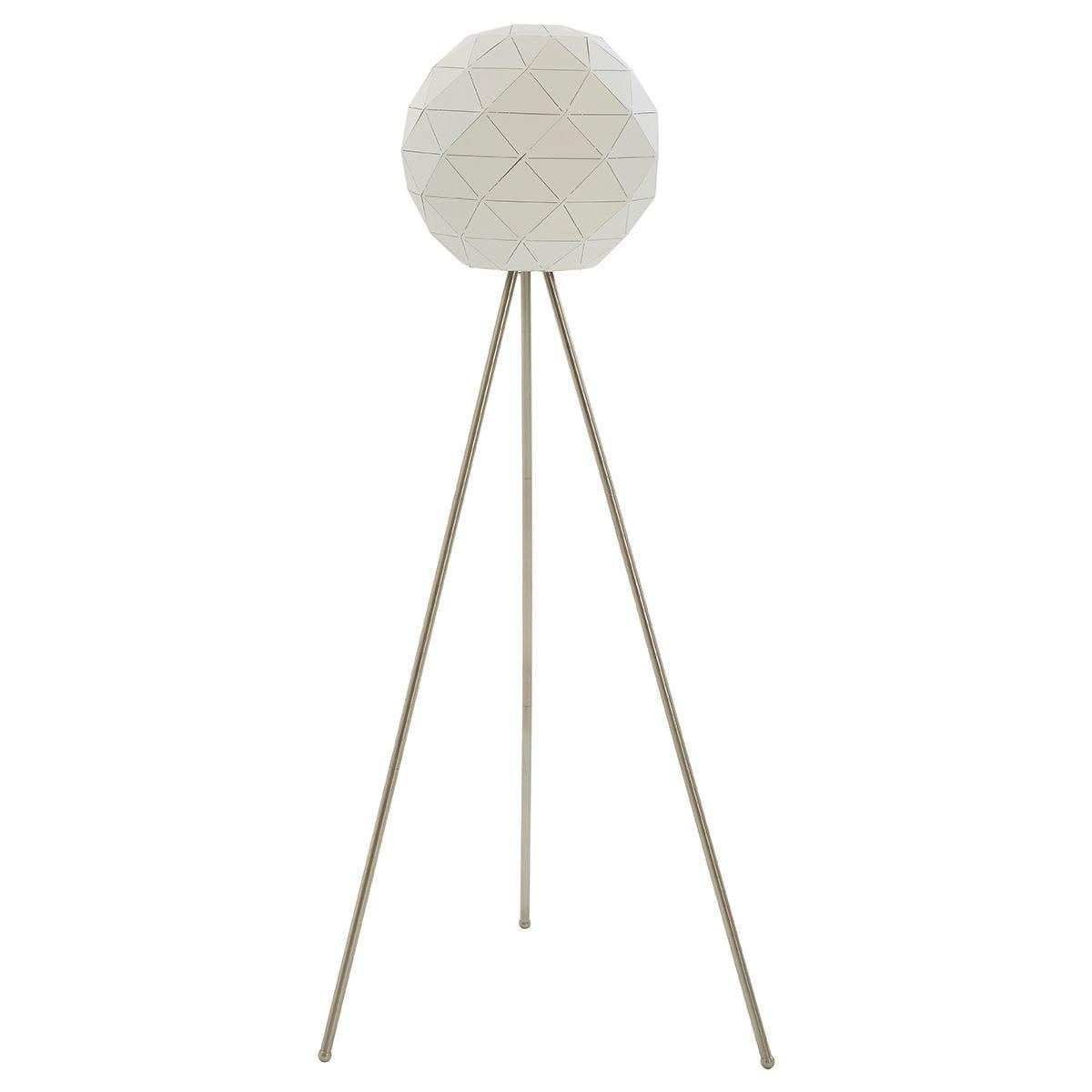 Premier Housewares Mateo Geometric Floor Lamp with Steel Base - White