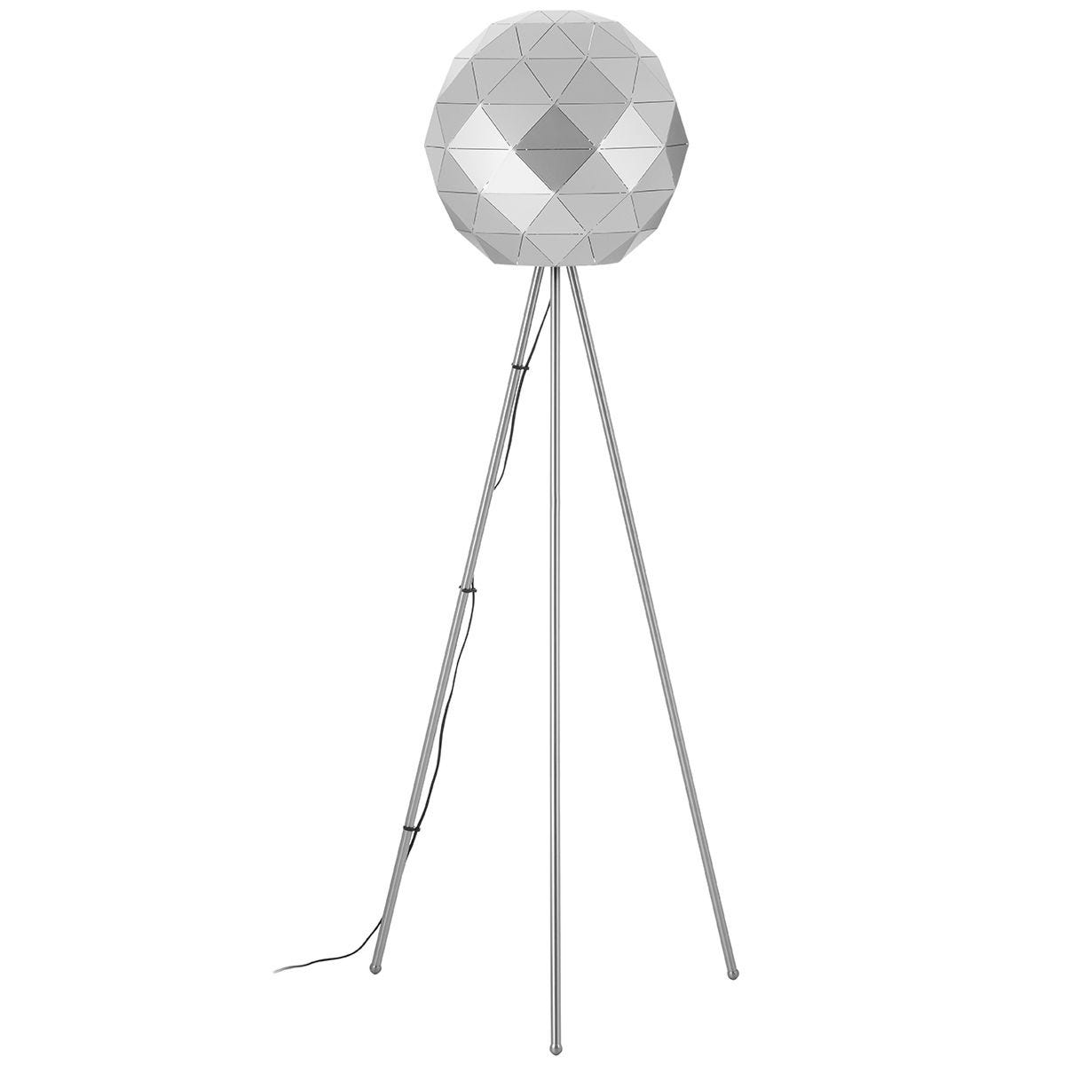 Premier Housewares Mateo Geometric Floor Lamp with Steel Base - Silver