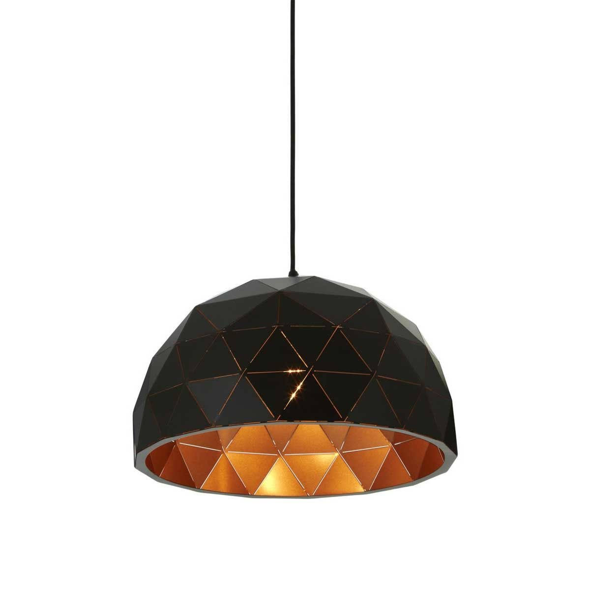 Premier Housewares Mateo Small Dome Pendant Light - Matt Black