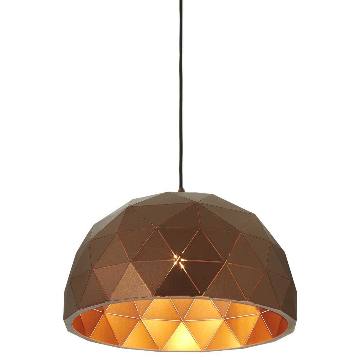Premier Housewares Mateo Small Dome Pendant Light - Brown