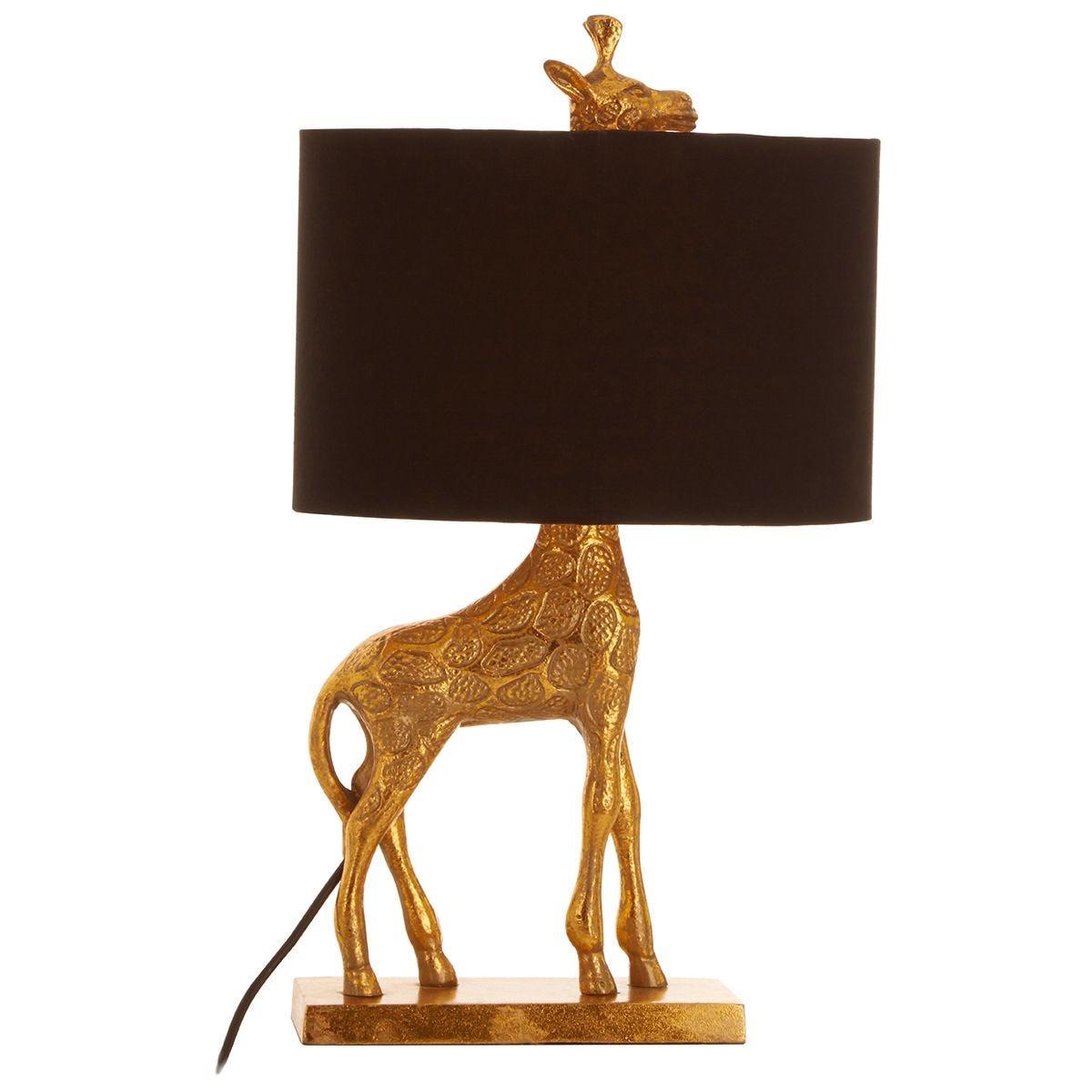 Premier Housewares Sika Giraffe Table Lamp - Black/Gold Finish