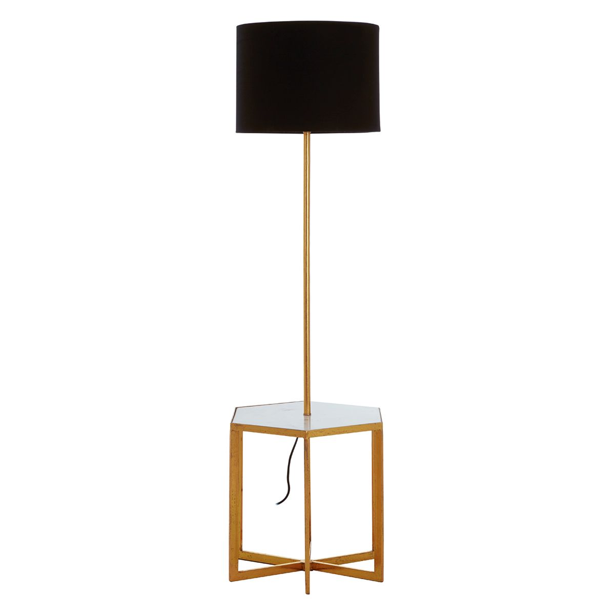 Premier Housewares Sika Floorstanding Lamp in Marble/Iron - Black/Gold Finish