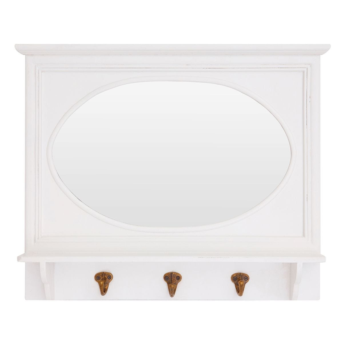 Premier Housewares Whitley Wall Mirror with 3 Hanging Hooks - White