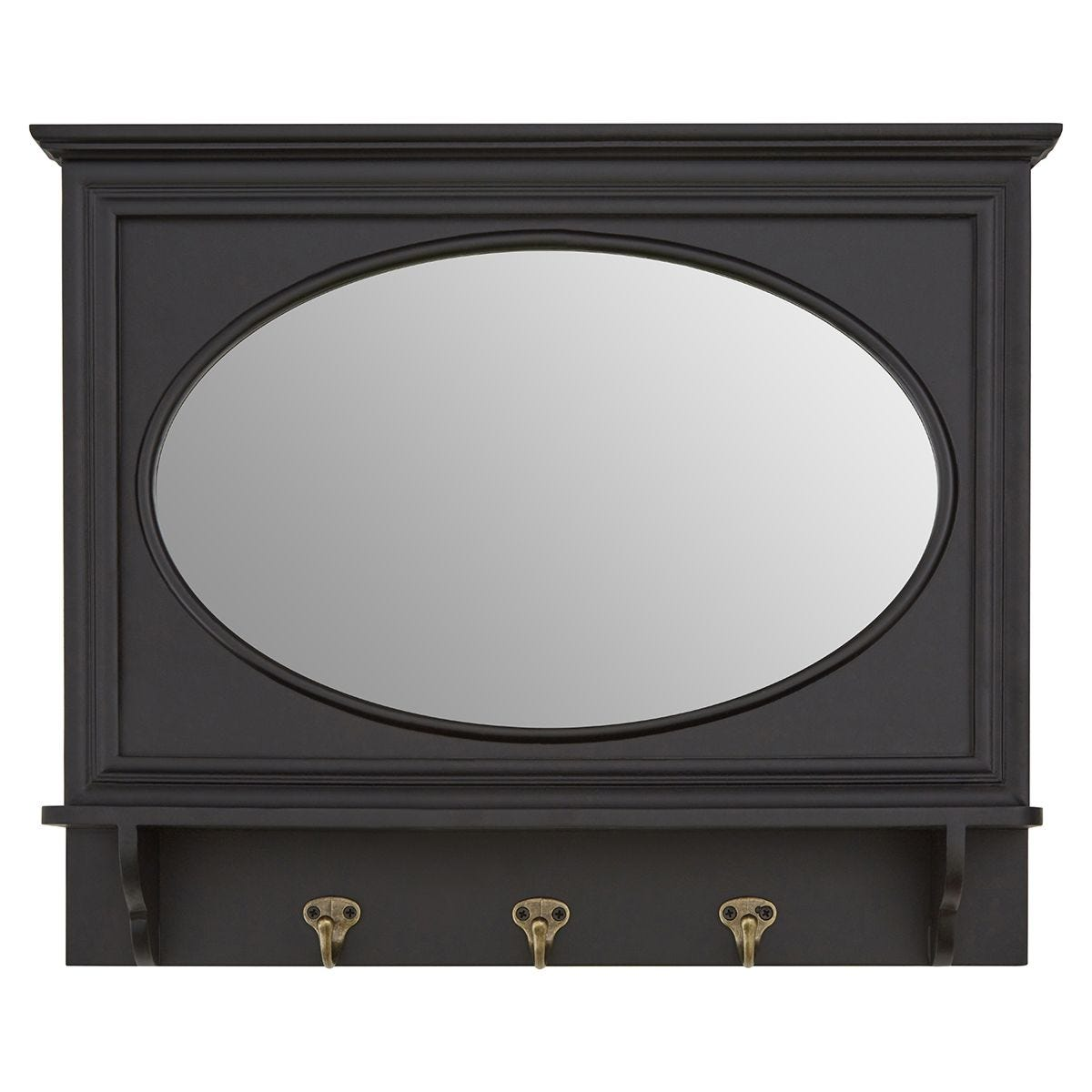 Premier Housewares Whitley Wall Mirror with 3 Hanging Hooks - Black