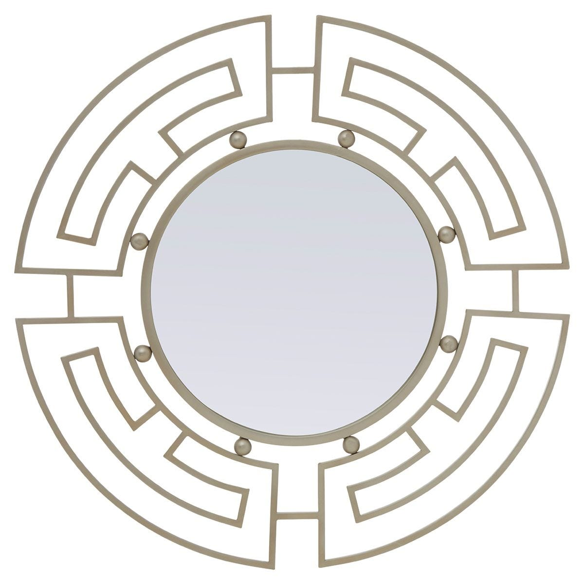Premier Housewares Jalal Round Wall Mirror with Silver Metal Frame