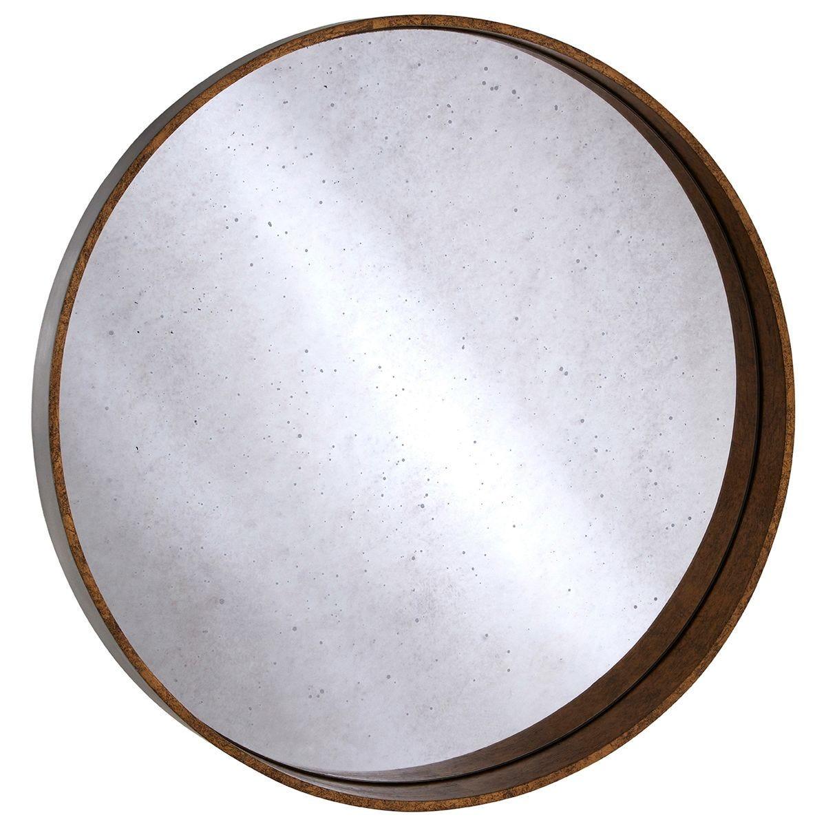 Premier Housewares Colton Round Wall Mirror - Antique Gold Finish