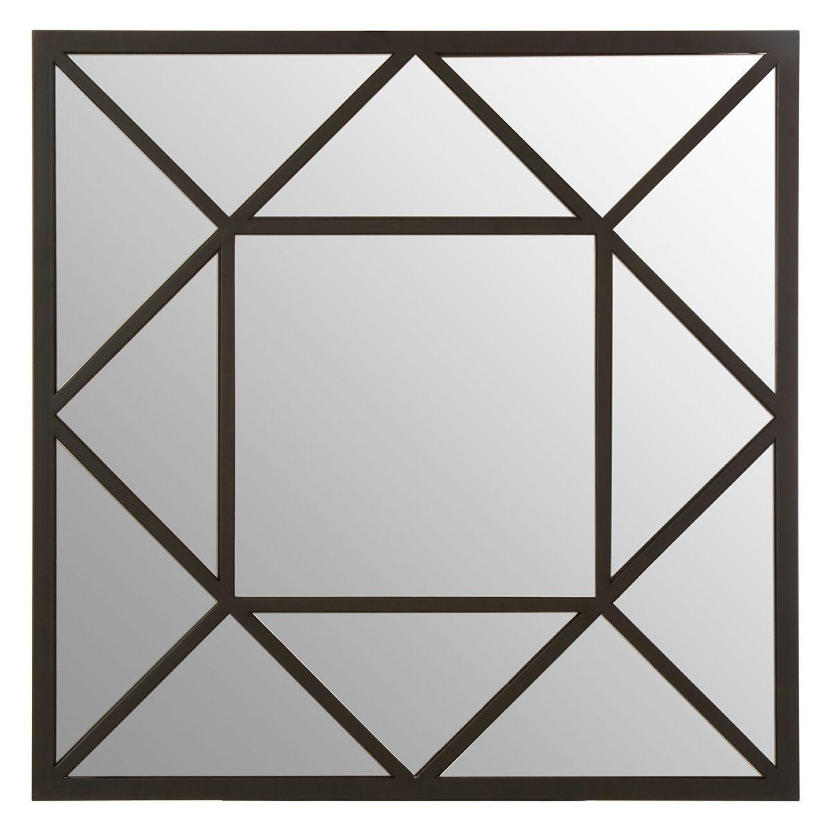 Premier Housewares Descartes Wall Mirror with Black Metal Frame