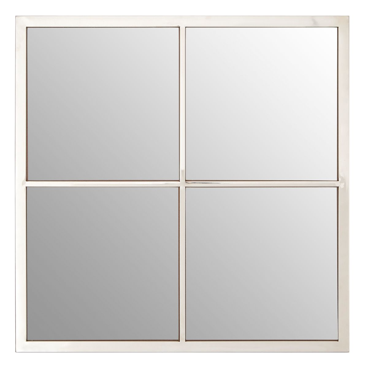 Premier Housewares Descartes Wall Mirror with 4 Squares - Silver Metal Frame