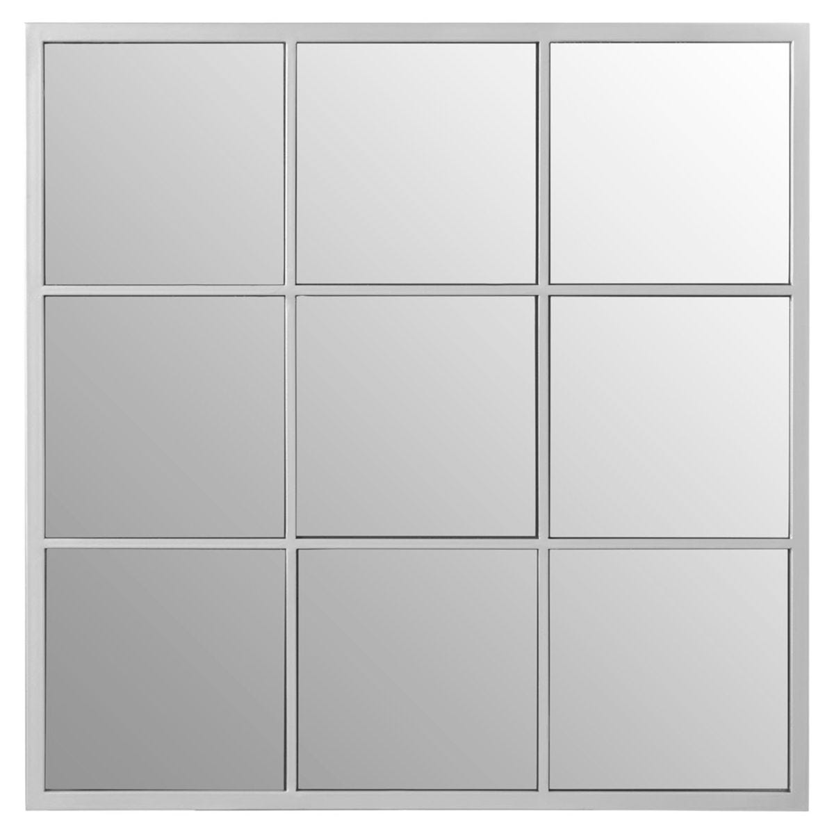 Premier Housewares Descartes Square Grid Wall Mirror - Silver Finish Frame