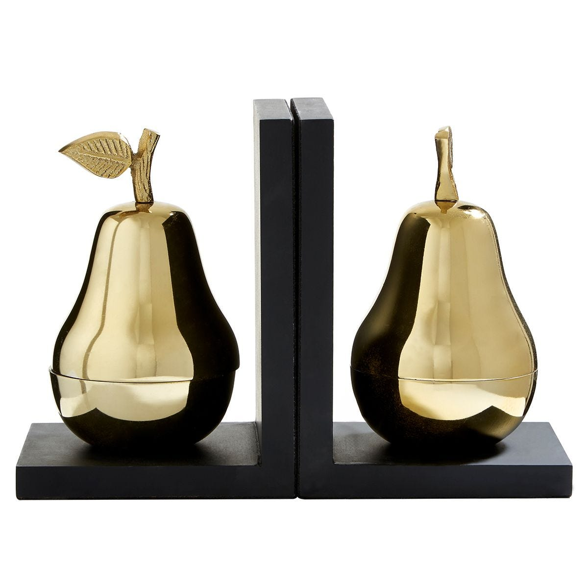 Premier Housewares Pear Set of 2 Bookends in Gold/Black Finish