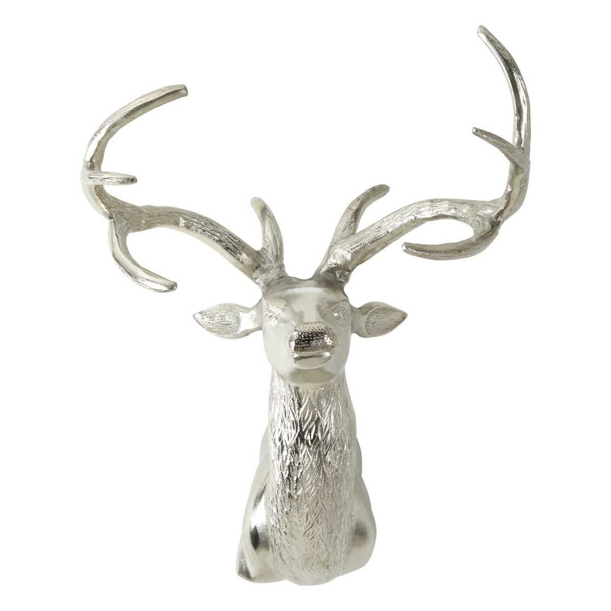 Premier Housewares Wall Mounted Stag with Curved Antlers - Nickel Finish