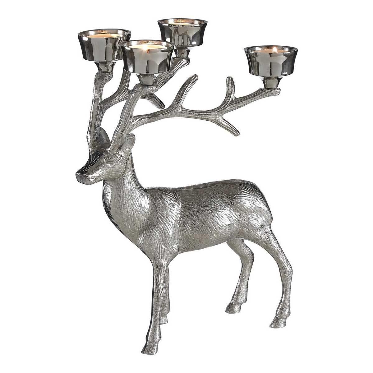 Premier Housewares Stag Tealight Holder - Nickel Finish