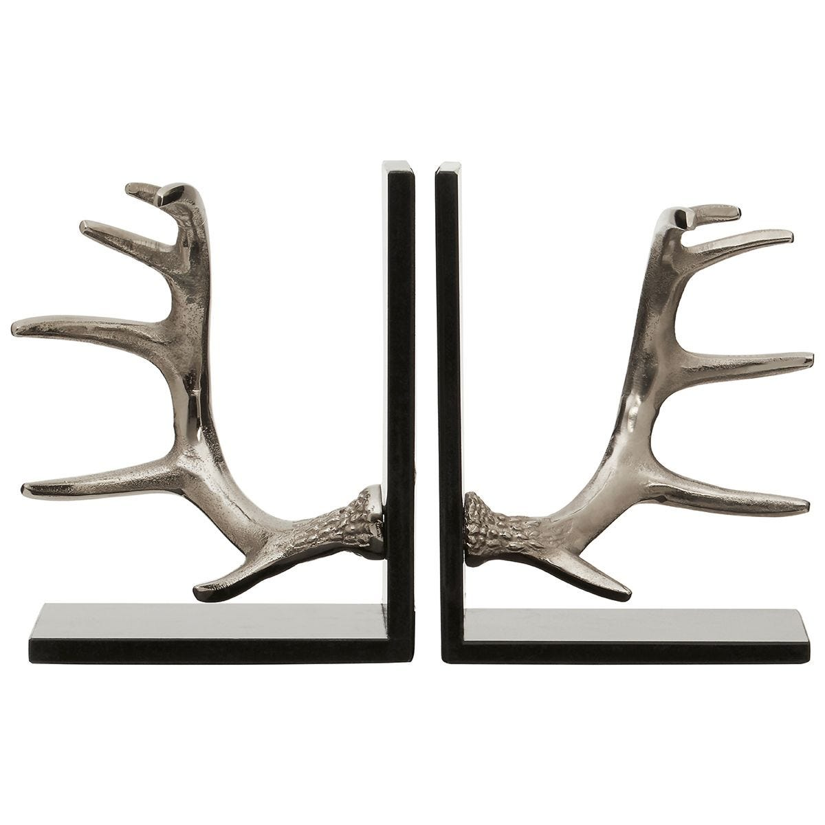 Premier Housewares Antler Set of 2 Bookends in Silver Finish with Marble Bases