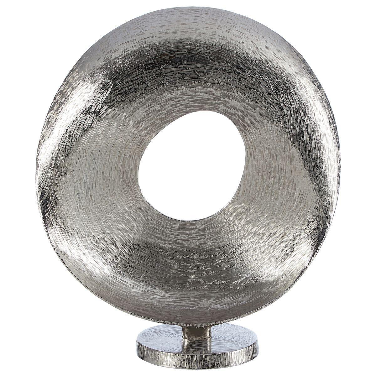 Premier Housewares Round Sculpture - Grind Nickel/Silver Finish