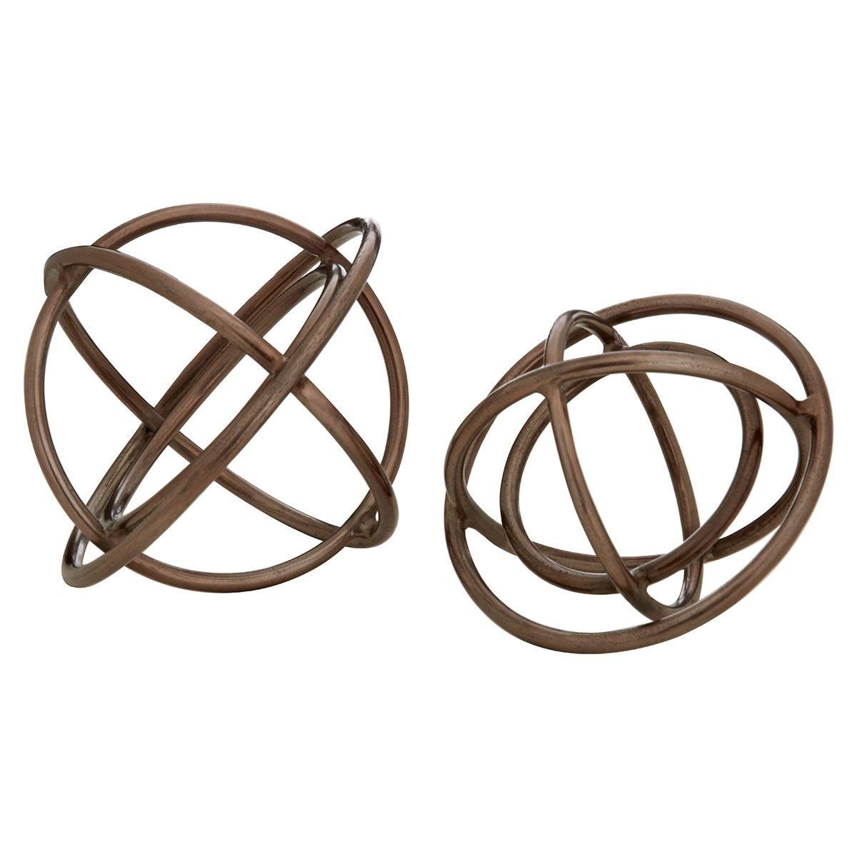Premier Housewares Nexus  Set of 2 Sculptures - Rough Bronze Finish