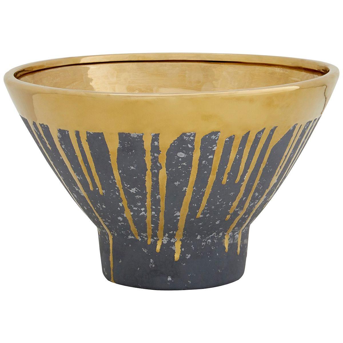 Premier Housewares Cyrus Bowl - Grey/Gold Finish