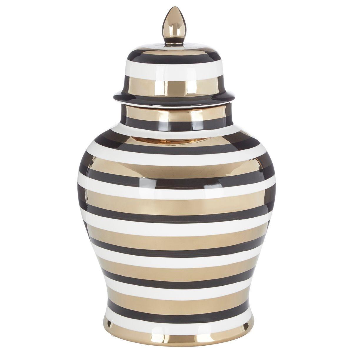 Premier Housewares Zeina Large Ceramic Jar - White/Black/Gold Finish