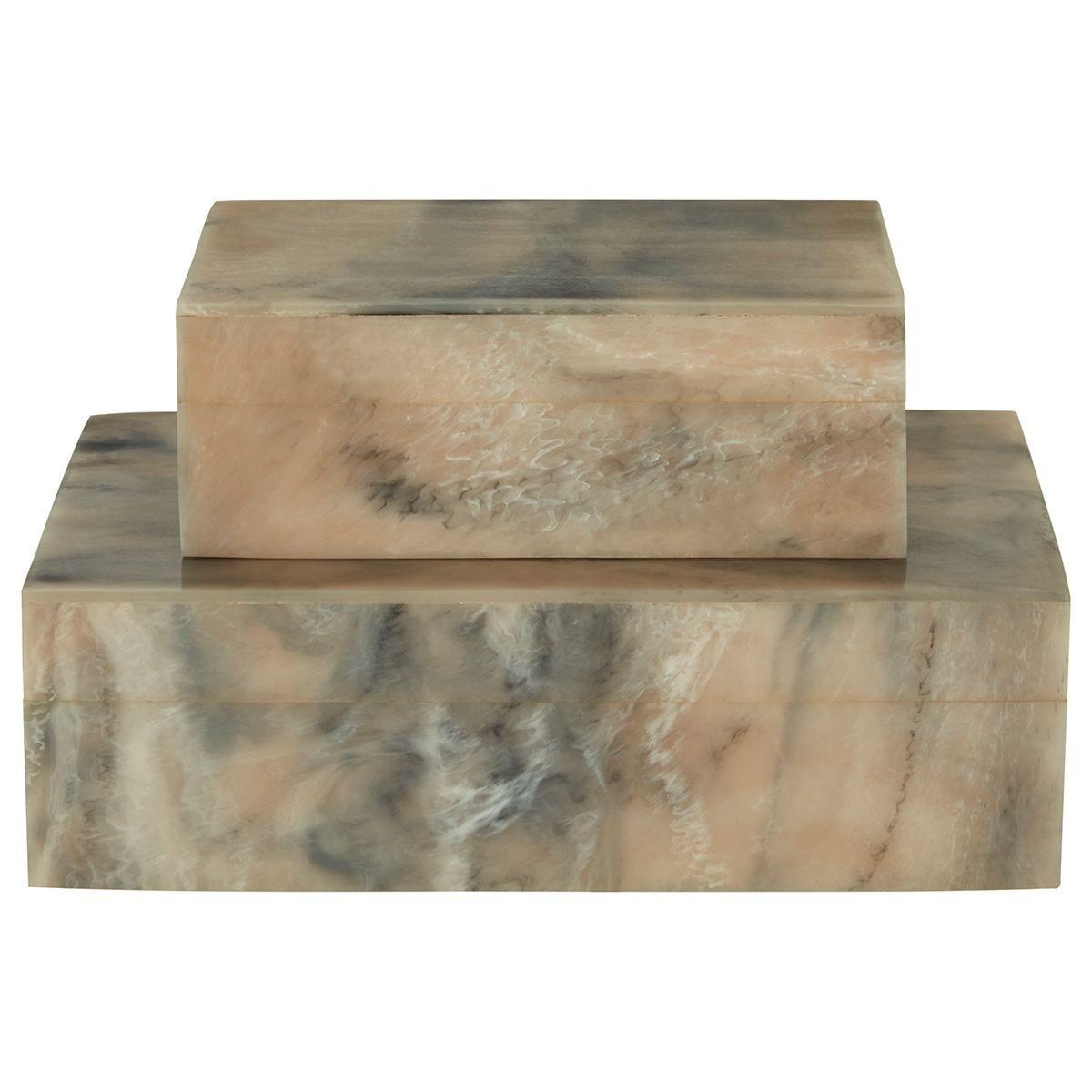 Premier Housewares Rosado Set of 2 Trinket Boxes - Marble Finish