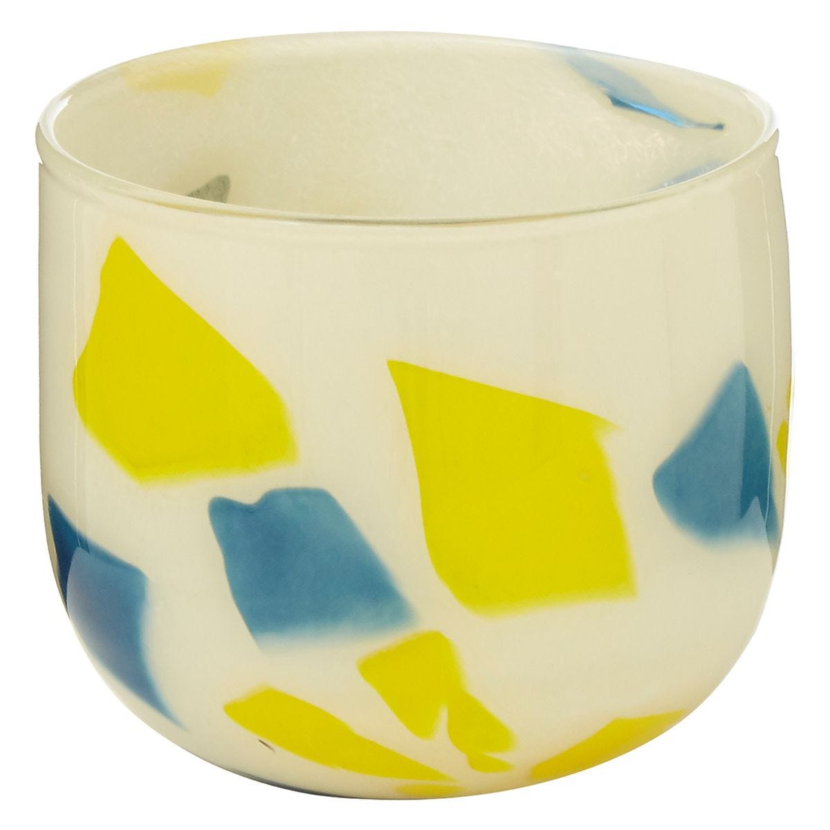 Premier Housewares Carra Abstract Glass Planter - Yellow/Blue