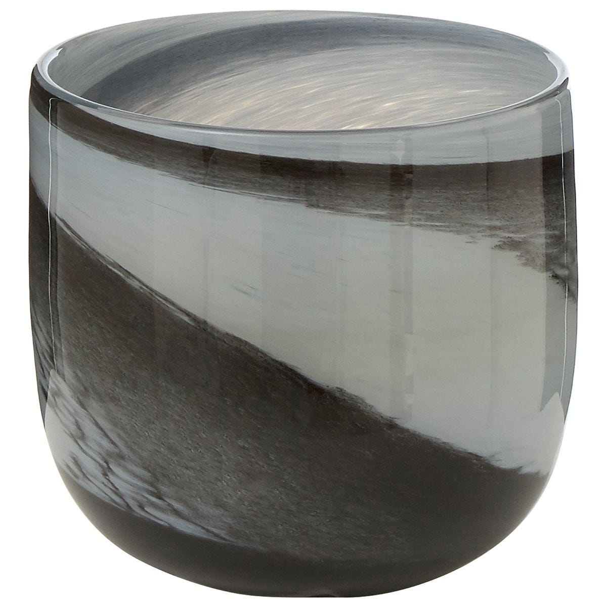 Premier Housewares Carra Glass Planter - Grey/Black Brushstrokes