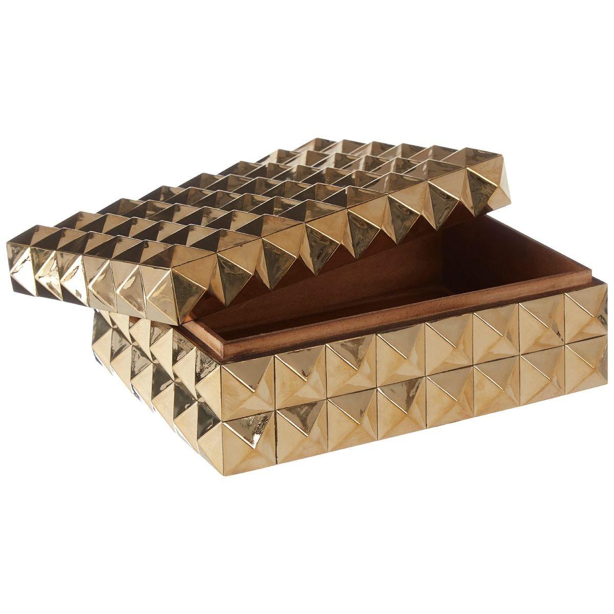 Premier Housewares Lexus Small Trinket Box with Pyramid Studs - Gold Finish
