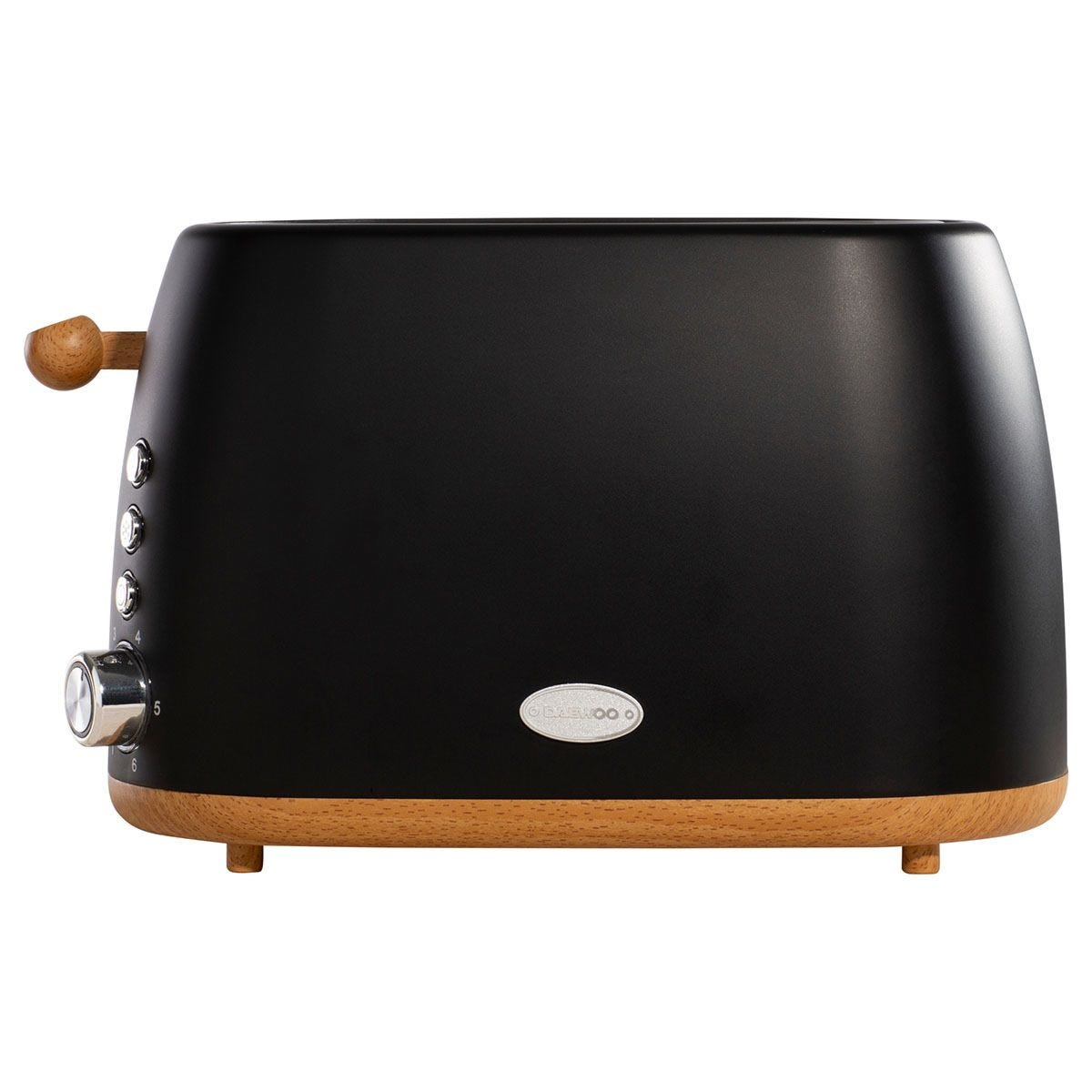 Daewoo SDA1697 Skandik 900W 2-Slice Wide Slot Wood Effect Toaster - Black
