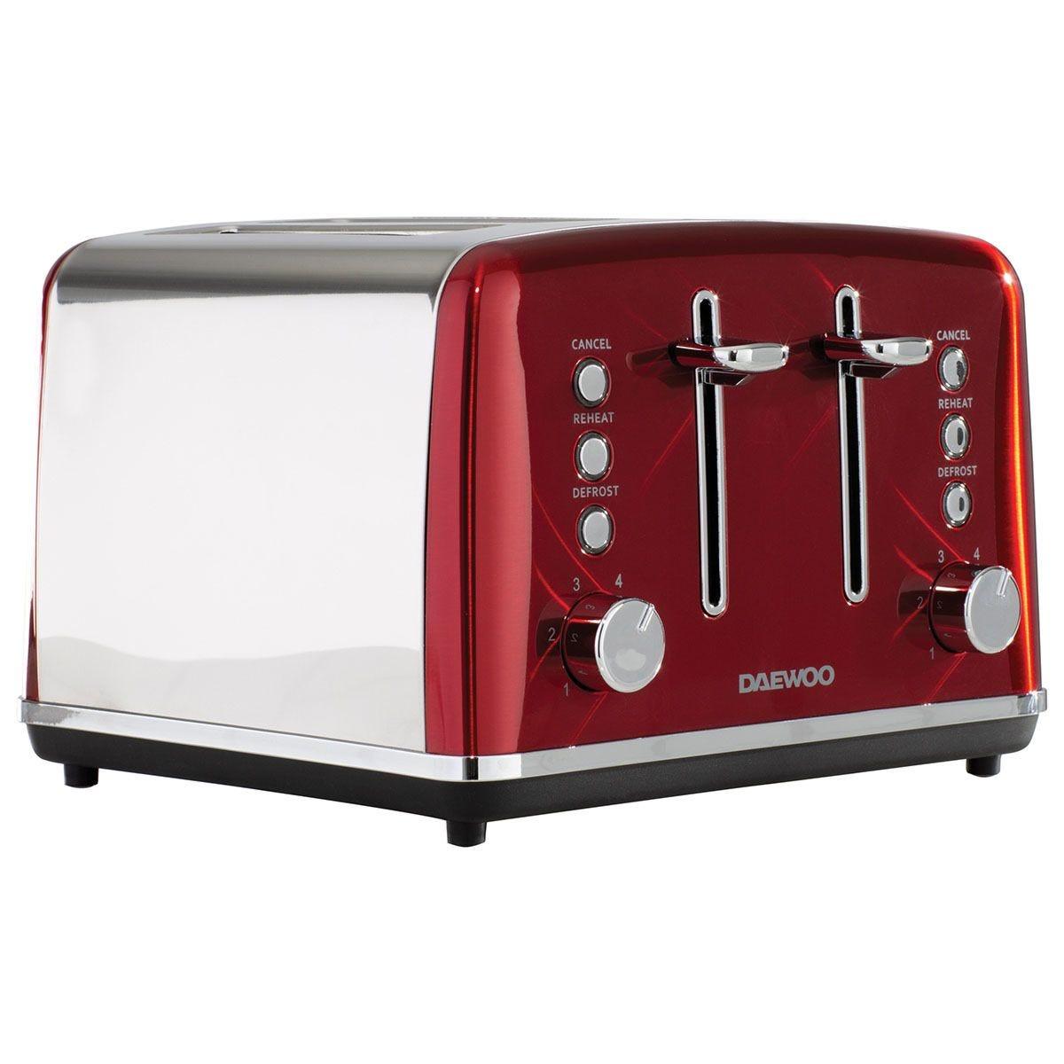 Daewoo Kensington 4-Slice Toaster - Red