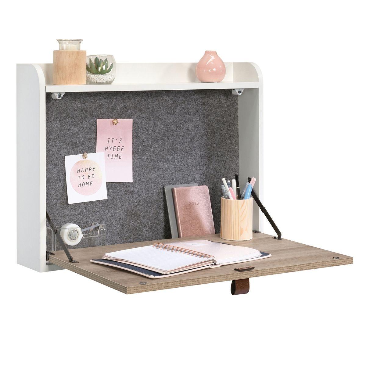 Teknik Avon Leather Handled Wall Desk - White/Oak