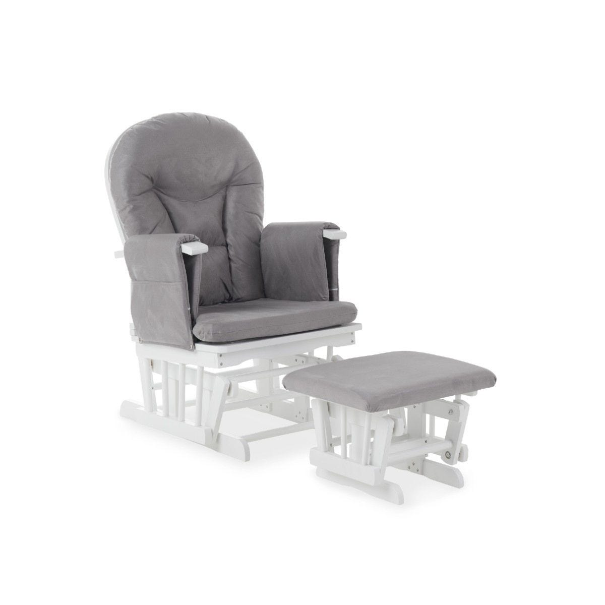 Obaby Reclining Glider Chair and Stool Grey
