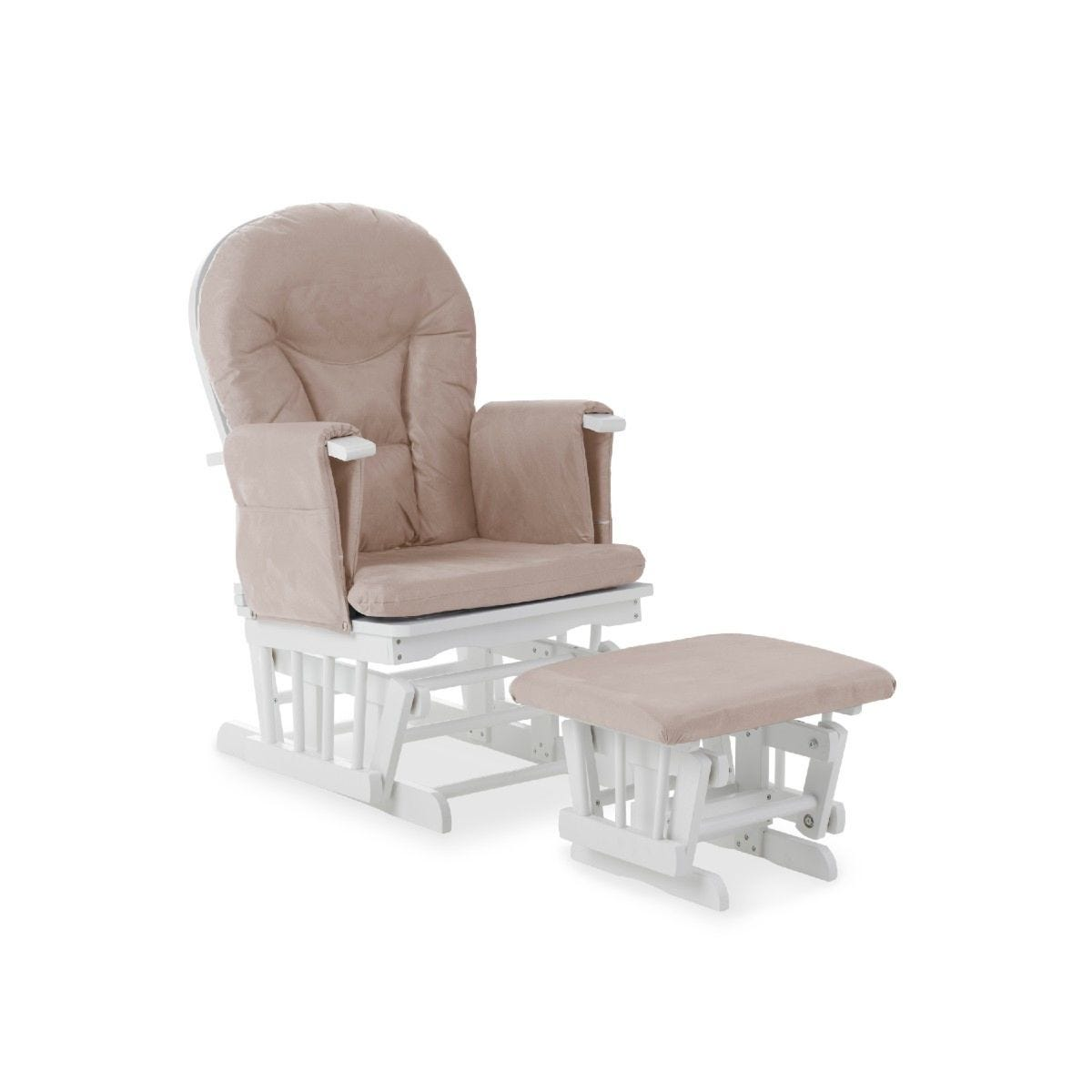 Obaby Reclining Glider Chair and Stool Sand