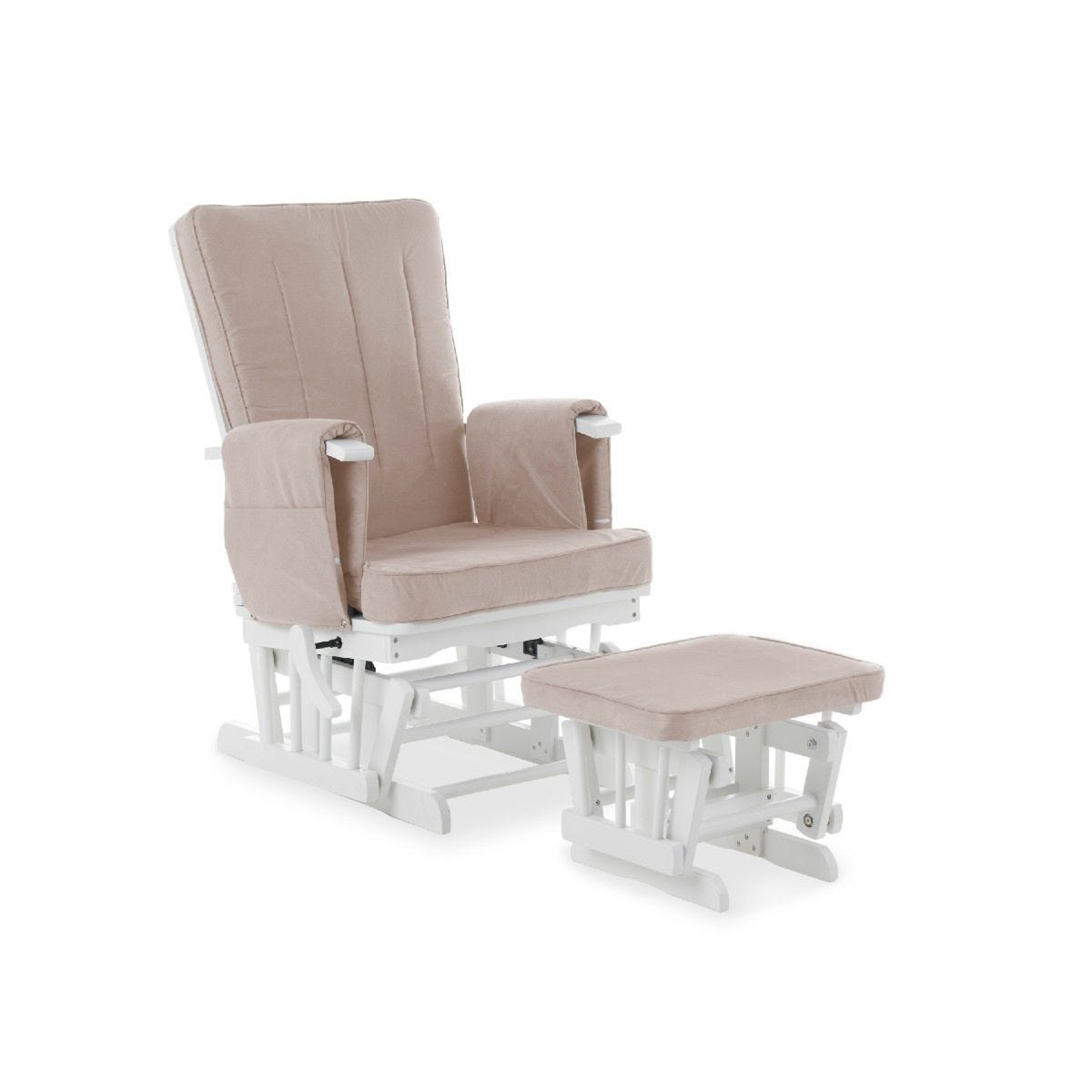 Obaby Deluxe Reclining Glider Chair and Stool Sand
