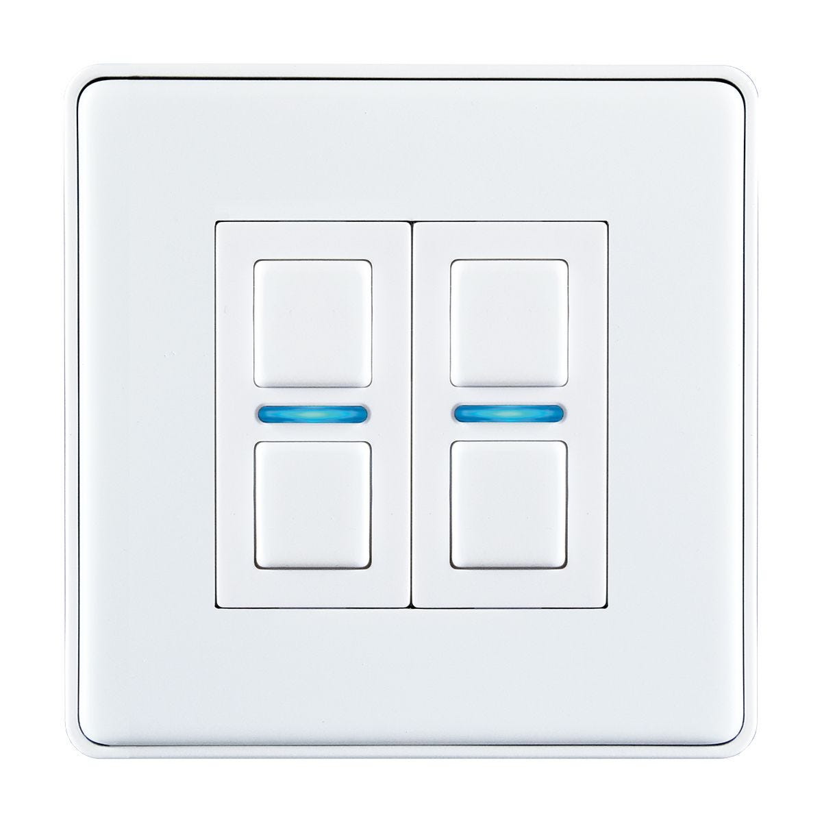 Lightwave Smart Series Dimmer (2 Gang) - White Metal