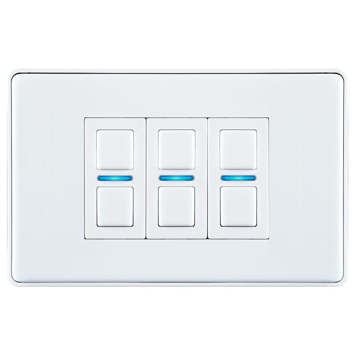 Lightwave Smart Series Dimmer (3 Gang) - White Metal