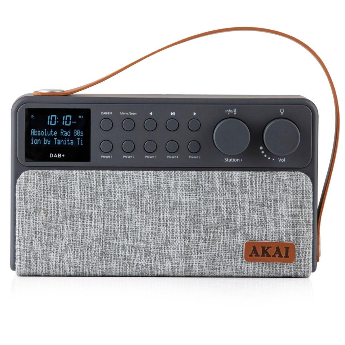 AKAI Rechargeable DAB+ Radio - Grey