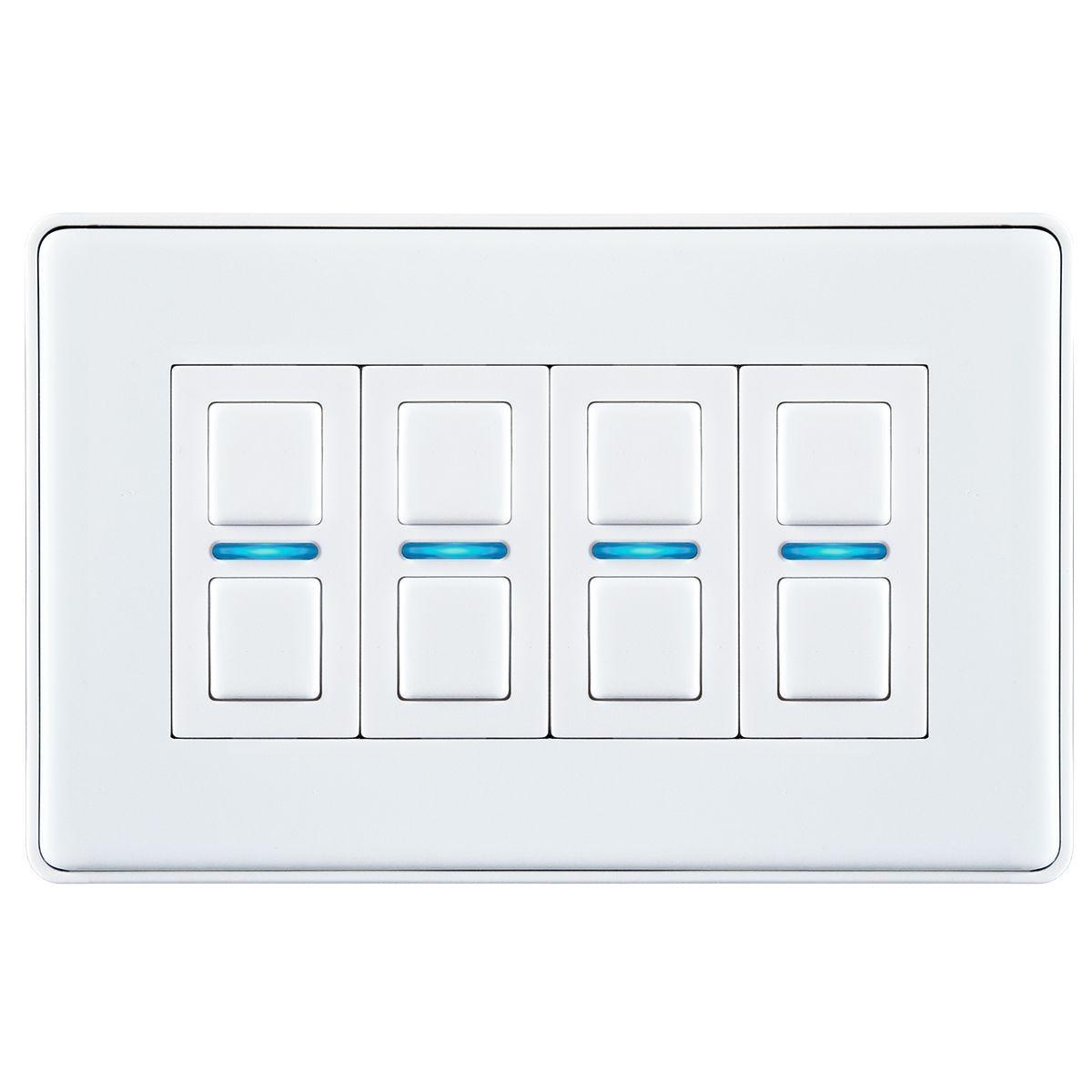 Lightwave Smart Series Dimmer (4 Gang) - White Metal