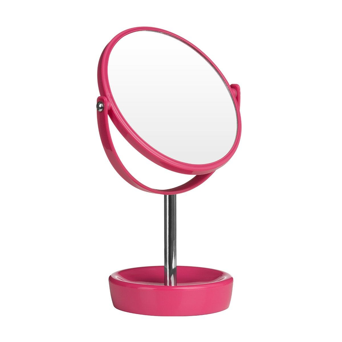 Premier Housewares Hot Pink Swivel Mirror with Magnifying Option