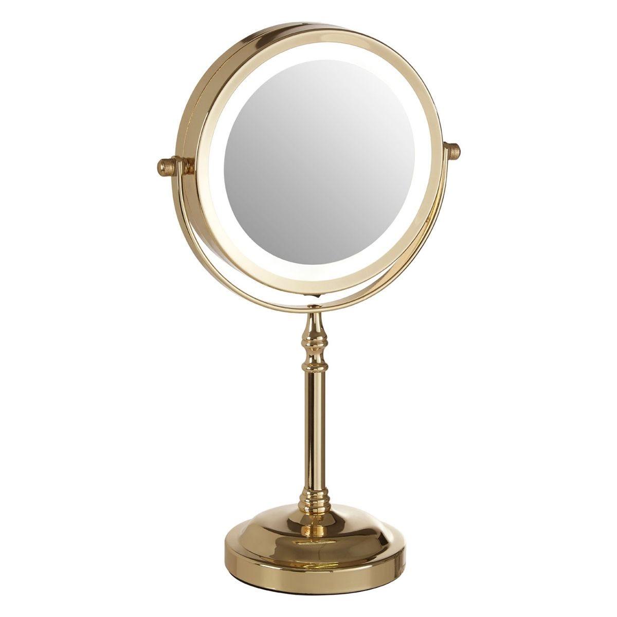Premier Housewares Light Gold Cassini LED Table Mirror