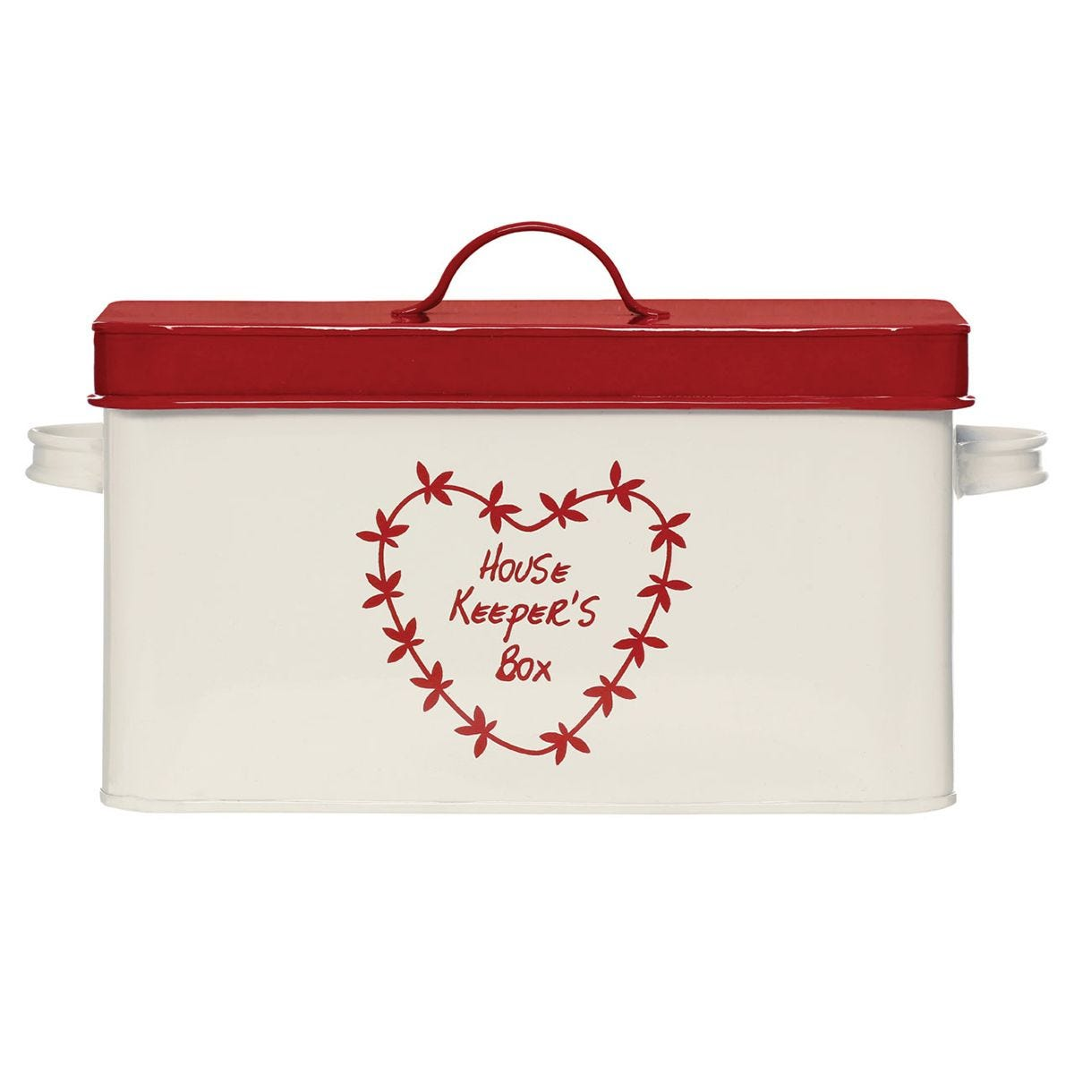 Premier Housewares Anglaise Red and Cream Housekeepers Box