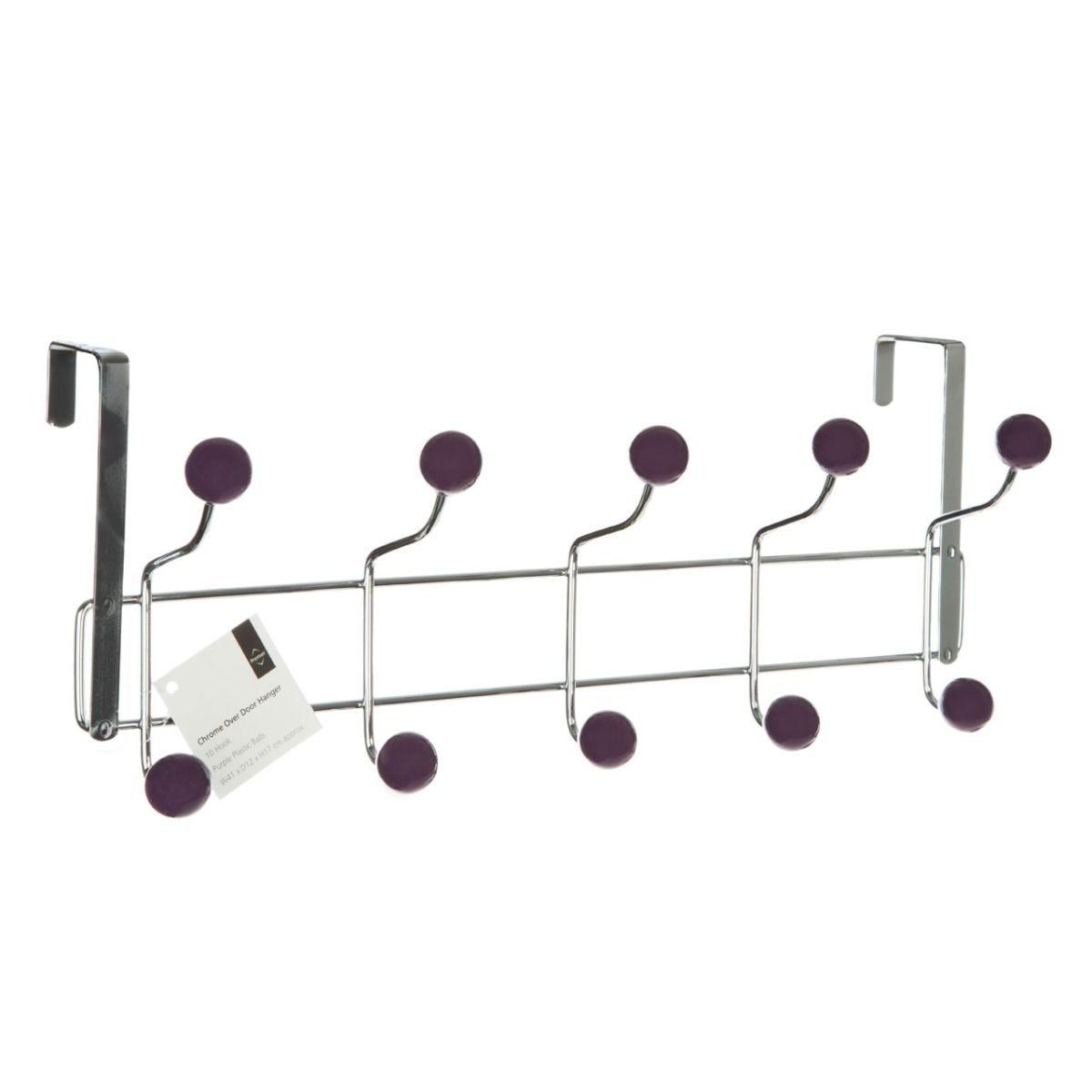 Premier Housewares 10 Hook Over The Door Hanger - Purple