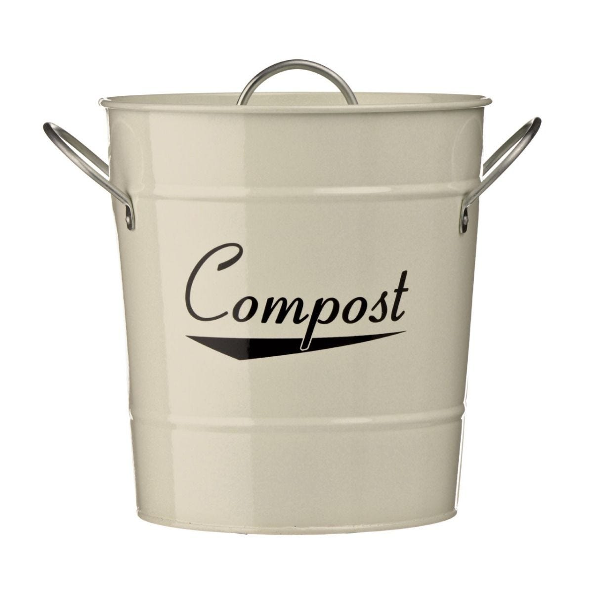 Premier Housewares Compost Bin With Plastic Inner Bucket - Cream