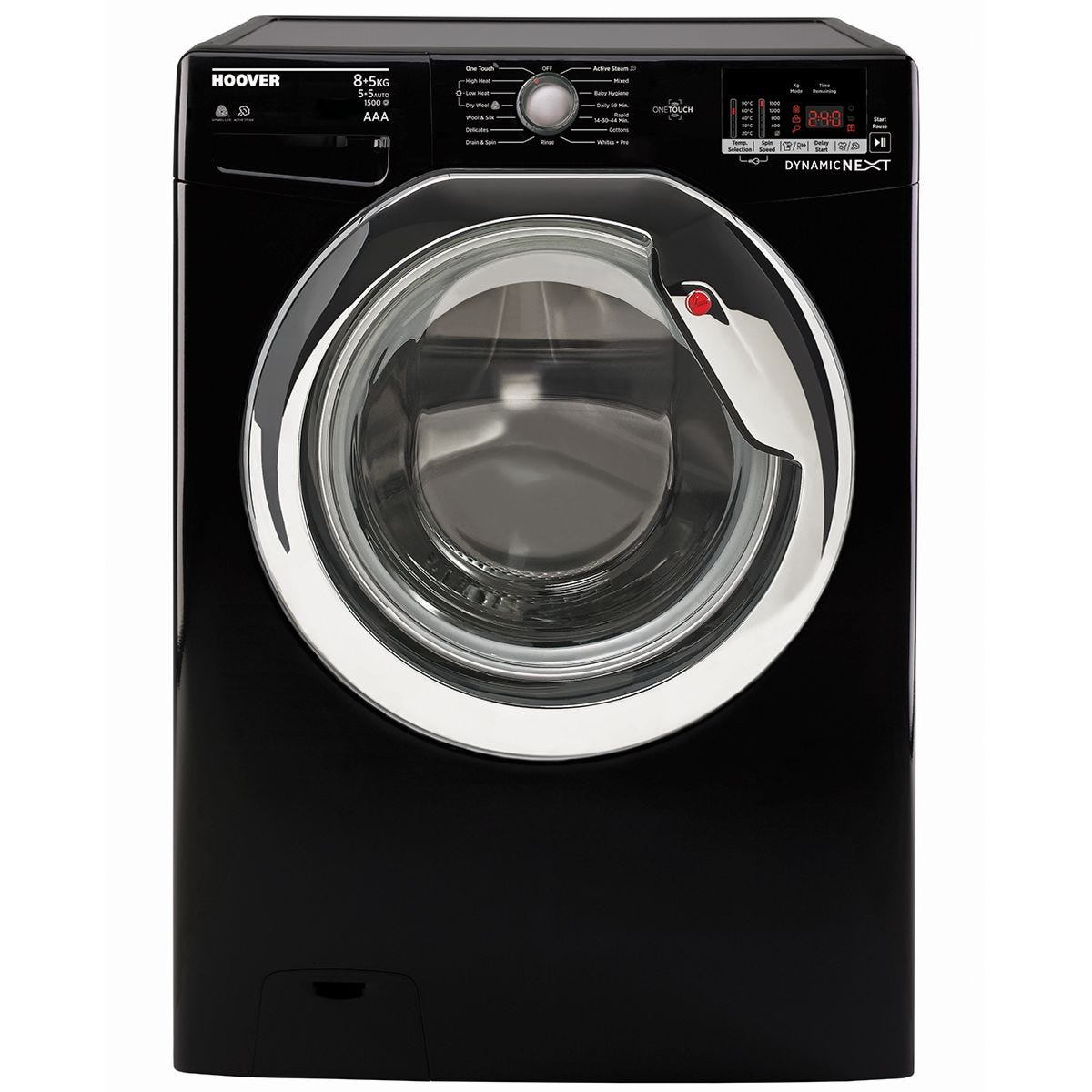 Hoover WDXOC585CB 1500rpm 8 + 5 kg One Touch Washer Dryer - Black with Chrome Door