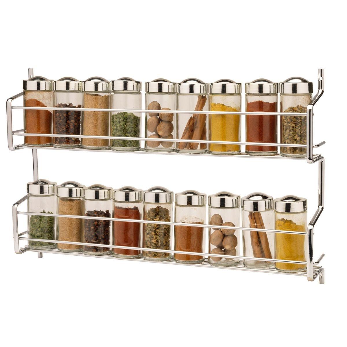 Hahn Metro Premium 2 Tier Wall/Cupboard Spice Rack With 18 Jars