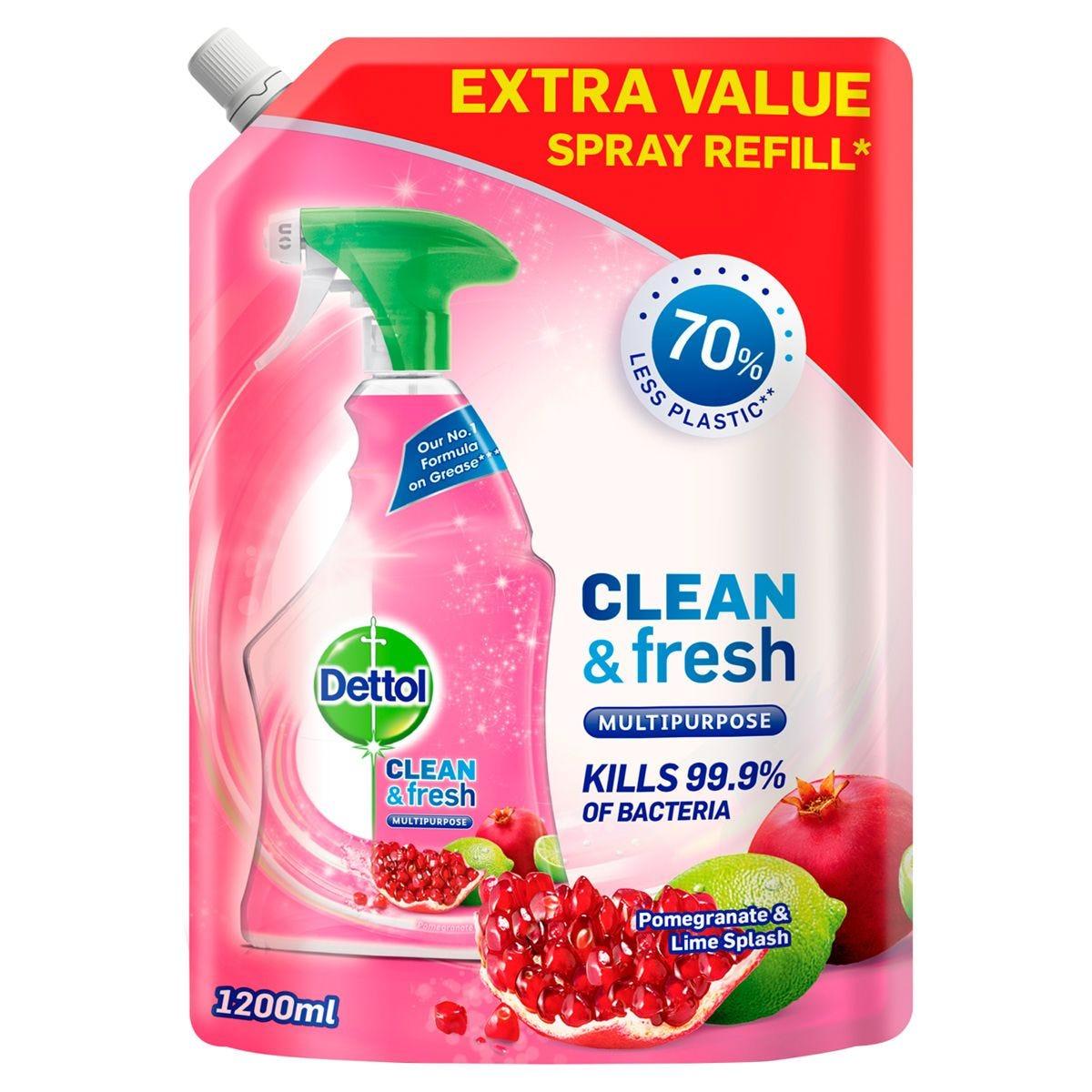 Dettol Clean & Fresh Antibacterial Multipurpose Spray Refill - Pomegranate & Lime Splash 1200ml