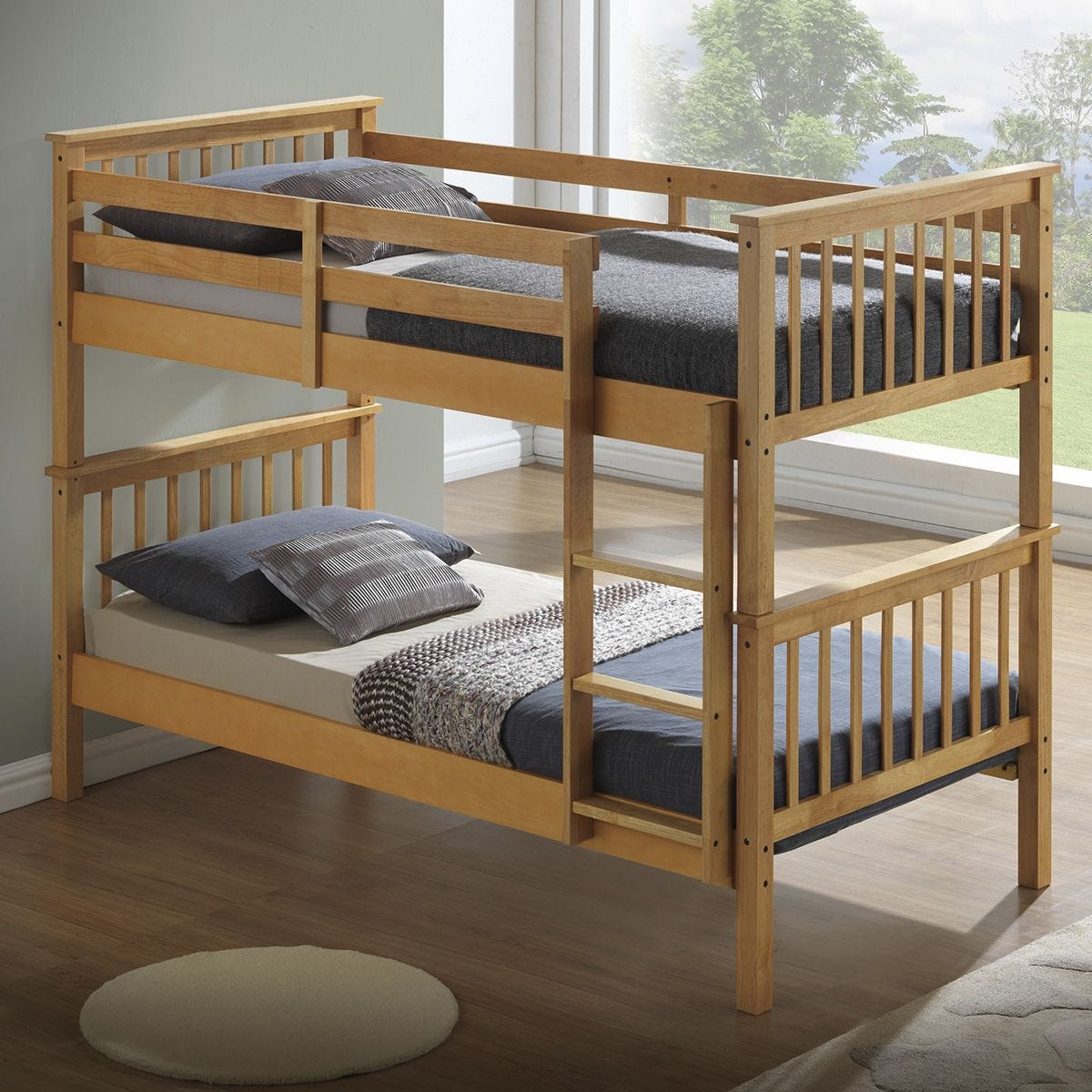 The Artisan Bed Compay Bunk Bed with Flat Headboard - Beech
