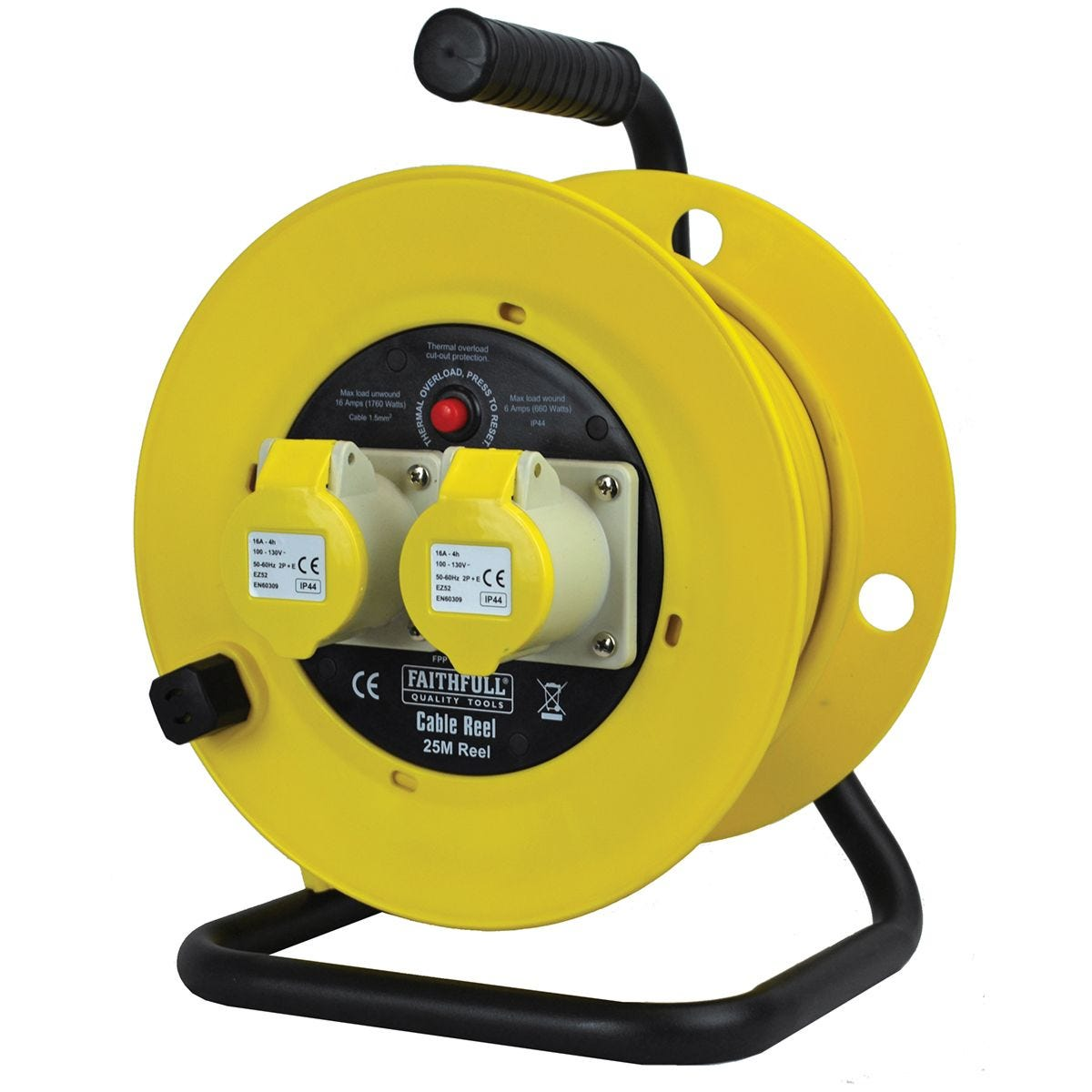 Faithfull Cable Reel 110V 25M 16A (2.5Mm Cable)