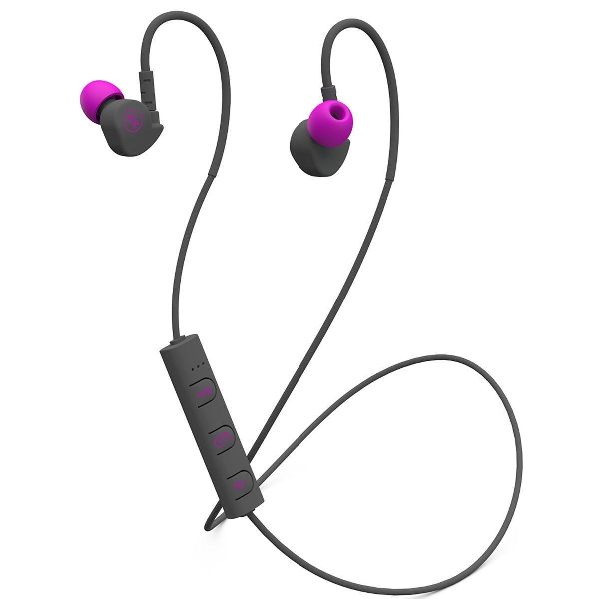 Mixx Memory Fit Wireless Sport Earphones - Grey/Pink