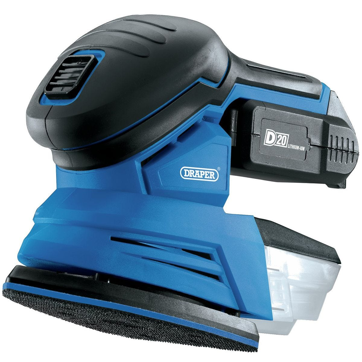 Draper D20 20V Tri-Base (Detail) Sander with 2Ah Battery and Charger