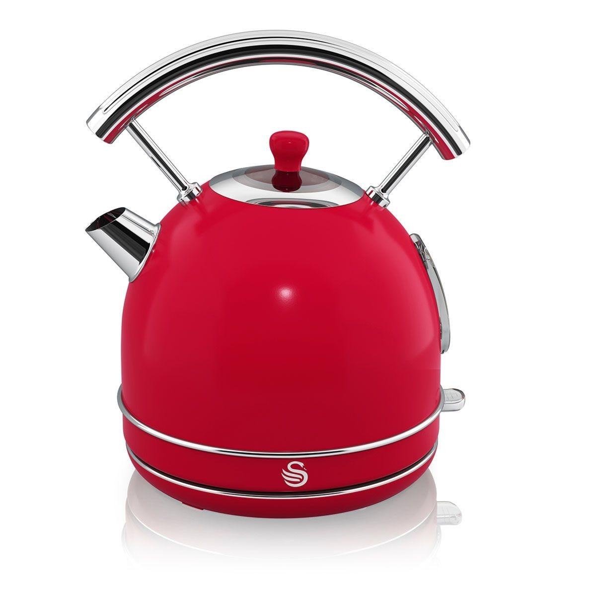 Swan SK14630RN 1.8L 3000W Retro Dome Kettle - Red