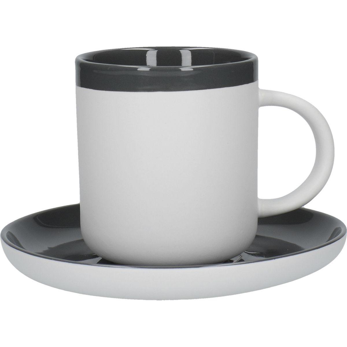 La Cafetiere Ceramic Barcelona Espresso Cup and Saucer - Cool Grey 120ml