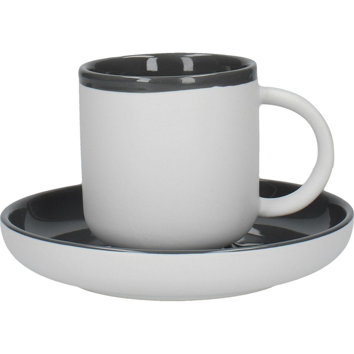 La Cafetiere Ceramic Barcelona Coffee Cup And Saucer Cool Grey 300ml Robert Dyas
